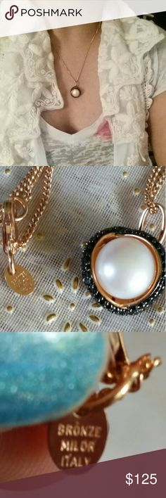 Nwot rose gold MILOR necklace Super beautiful  and sofisticaded  Bronze Milor Italy brand.Real fresh water pearl and hematite stones.This is very classy and looks stunning with any outfit. Milor Jewelry Necklaces