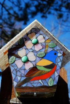 Birdhouse Stained Glass Mosaic Painted Bunting by NatureUnderGlass