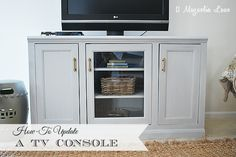 Refreshing your TV Console--have a piece that is a little dated? See how easy it is to cover the beadboard and make your furniture more current.