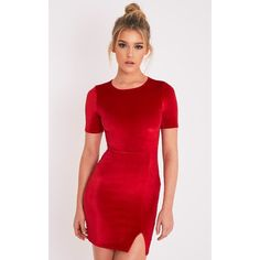 Freyah Red Velvet  Split Detail Bodycon Dress-4 (385 MXN) ❤ liked on Polyvore featuring dresses, red, velvet cocktail dress, velvet mini dress, velvet dresses, short bodycon dresses and red velvet cocktail dress