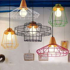 Nordic vintage wrought iron chandelier,colorful metal cage&wood industrial droplight retaurant cafe loft Warehouse hanging lamp-in Pendant Lights from Lights & Lighting on Aliexpress.com | Alibaba Group
