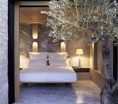 Bedroom at the Amanzo'e resortin Greece.