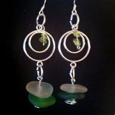 Sterling silver drop earrings with peridot and sea glass