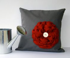 "16"" DESIGNER PILLOW Red Felt Flower Charcoal Gray Linen White Ceramic Button by JillianReneDecor Summer Home Decor. $49.50, via Etsy."
