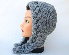 Cable Knit Hood Hat - Oxford Gray Bonnet - Chunky Earflap Hat - Women's Headwear - Fall / Winter Fashion - Knit Accessories by BettyMarieJones on Etsy