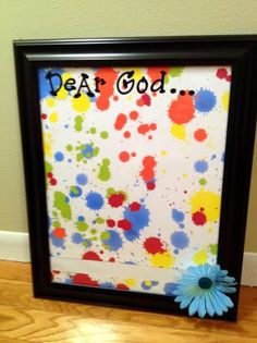 Prayer board ideas... not crazy about the paint splatters, but the overall idea is a good one.