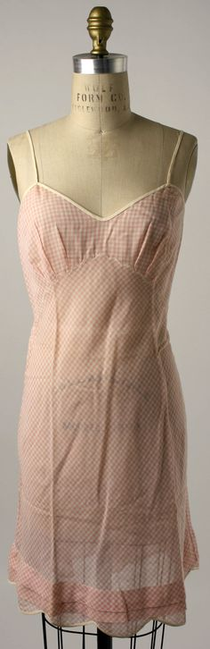 Gingham Slip, Henri Bendel (American, founded 1895): ca. 1950's, American, cotton, silk.