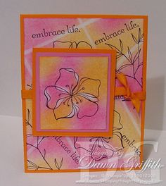 Dawns Stamping Studio: Chalk Lines ~ With Dawn- stamp, chalk, use pencil eraser to make lines and to wipe of some areas of chalk on main flower