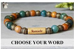 Woodland Inspired Beaded Bracelet Green Moss Agate and Wood Beads with Your choice of word - Wedding bracelets (*Amazon Partner-Link)