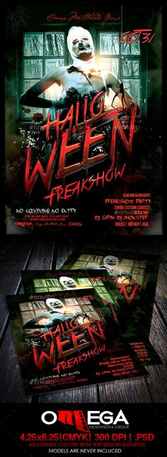 Halloween Freakshow Flyer Template PSD #design Download: http://graphicriver.net/item/halloween-freakshow/8896270?ref=ksioks