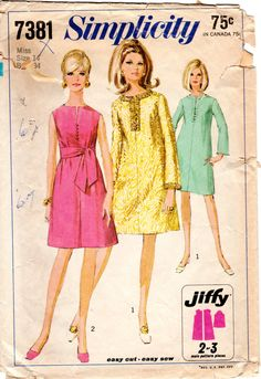 1960s Jiffy Mod Rajah Style Dress - Vintage Pattern Simplicity 7381 - Bust 34 by ErikawithaK on Etsy