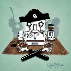 Captain Barista and his #coffee sipping crew. #barrista #barista #illustration #espresso #grinder #machine