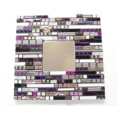 KIT - Aztec Purple Mirror - Lonneke has been hard at work to create our new mosaic kits that are an excellent introduction in mixing materials and in thinking outside the box while creating a mosaic design. Some experience and skill in cutting is required but in general this kit is within the reach of beginners with the help of a pair of wheeled nippers. #mosaic
