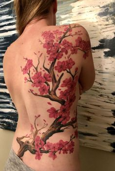 Cherry blossom tattoo on back, shoulder and collarbone on back shoulder tattoos on back on back harry potter blossom tattoos on back Red Ink Tattoos, Cute Tattoos, Beautiful Tattoos, Body Art Tattoos, Arrow Tattoos, Cross Tattoos, Tatoos, Wing Tattoos On Back, Back Tattoo Women