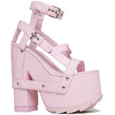 YRU Night Call Pink Shoe churning Wrapped Platform Heel Punk... ($55) ❤ liked on Polyvore featuring shoes, synthetic leather shoes, synthetic shoes, punk rock shoes, vegan leather shoes and pink shoes