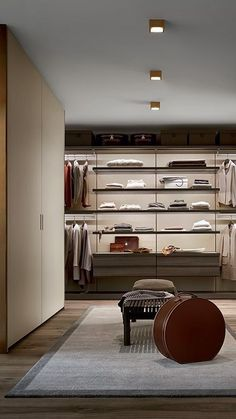 Poliform modern wardrobe collection claims prominence in the night area. Italian furniture design in modern and contemporary style. Walk In Wardrobe Design, Wardrobe Door Designs, Wardrobe Design Bedroom, Closet Designs, Closet Bedroom, Loft Closet, Wardrobe Closet, Wardrobe Doors, Room Interior