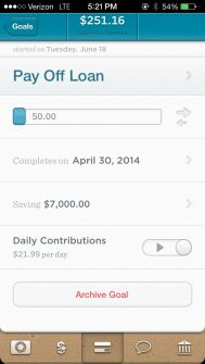 Using the new Simple app to create goals. Paying off my loans faster and saving money!