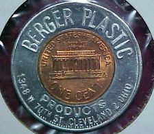 1963-D Encased Cent Penny Berger Plastic Products Cleveland Ohio OH