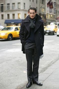 NAVY PEA COAT   WHITE LEATHER GLOVES // preppy men's fashion blog ...