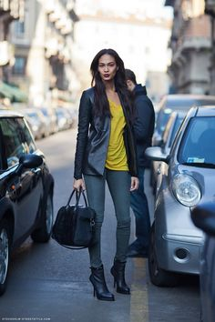 Spotted: Joan Smalls is Street Chic in Sleek Black Booties (Get The Look) | StyleBlazer