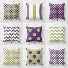 Purple Pillow Covers, Purple Throw Pillows, Green Pillows, Throw Pillow Covers, Purple Couch, Red Throw, Striped Cushions, Green And Purple, Bedrooms