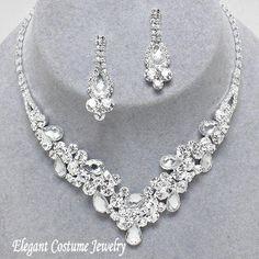 Clear Bridal Crystal Formal Prom Necklace Set Elegant Jewelry #7540 $20.99 www.ElegantCostumeJewelry.com