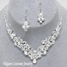 Clear Bridal Crystal Formal Prom Necklace Set Elegant Bridesmaid Jewelry