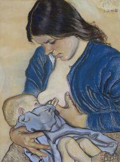 Stanisław Wyspiański - Motherhood - 1902 - pastel on paper - National Museum in Warsaw (MNW) Watermark Ideas, Breastfeeding Art, Art Nouveau, Portraits, Mother And Child, National Museum, Illustrations, Oeuvre D'art, Art For Kids