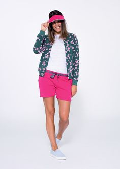 A college sweater with floral pattern over a simple white t-shirt.  SUN68 Woman SS15 #SUN68 #SS15 #woman #sweater #shorts #tshirt