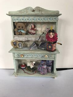 Rustic green Victorian style cabinet for child's room or nursery in 1/12 scale miniature #ad #dollhouse