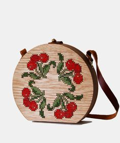 Cherry Stitched Oak Wood Bag by Grav Grav - $390