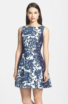 Nordstrom  Jessica Simpson Floral Print Twill Fit & Flare Dress