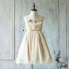 2016 Beige Junior Bridesmaid Dress, Ruched Flower Girl Dress, Spaghetti Strap Rosette dress, knee length (JK007)