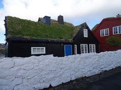 Grass roof house. Faroe Islands.