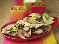 Carnitas Style Grilled Beef Tacos -- Steak strips get big south-of-the-border flavor from cilantro, onions and tomatillos.
