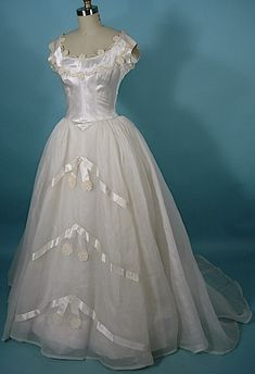 c. 1950's PRISCILLA OF BOSTON Wedding Gown with Veiled Small Headpiece