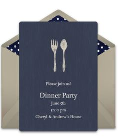 Free birthday party invitation with a classy and simple fork and knife design. Love it for a milestone 30th birthday party or a dinner party! Goes perfectly with a formal theme.