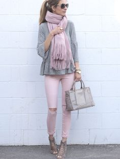 spring outfit: pink denim with gray ruffle hem Gibson top and lace up booties