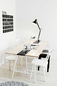 Via Showhome.nl | Minimal Dining Table | Black White Wood