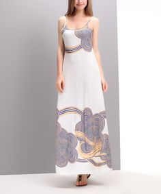 Another great find on #zulily! White & Blue Cloud Maxi Dress by Reborn Collection #zulilyfinds