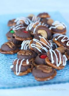 Chocolate caramel pretzel bites from Our Best Bites