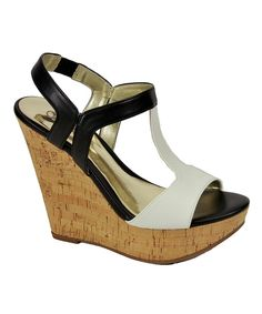 Look at this White & Black Bondi Wedge Sandal on #zulily today!