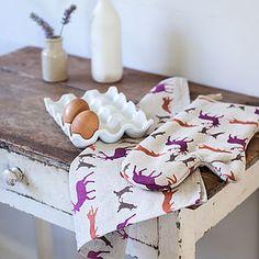 Animals Linen Tea Towel