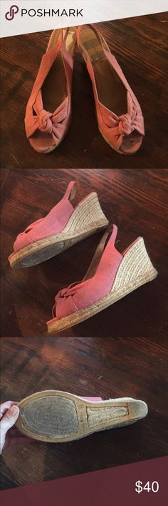 Pink espadrille wedges from Talbots Cute pink retro espadrille wedges size 9.5 from Talbots.  They're very comfortable and look great when paired with skinny pants, shorts, and skirts or dresses! Talbots Shoes Wedges