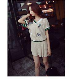 时尚套装粉红大布娃娃2017夏季新款套装韩版时尚V领蕾丝两件套夏-tmall.com天猫