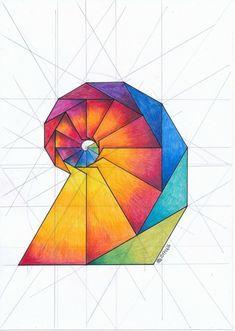 Regolo Fractal Geometry, Sacred Geometry Art, Fractal Art, Geometric Drawing, Geometric Shapes, Triangle Art, Fibonacci Spiral, Math Art, Spiral Art