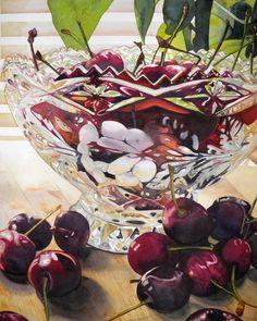 Cherries And Bowl  Painting  - Cherries And Bowl  Fine Art Print