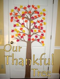 Decorate for Thanksgiving with a Thankful Tree, have kids write what they are thankful for on a leaf each day. If desired, load the tree with green leaves and replace with fall-color leaves as children write... (changing season) #Christmas #thanksgiving #Holiday #quote