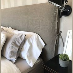 Natural Linen Headboard Slipcover Upholstery - Pick Your Color Headboard Cover, Linen Headboard, Headboards For Beds, Grey Bedroom Design, Bed With Drawers, Furniture Slipcovers, Bed Sizes, Furniture Makeover, Home Deco