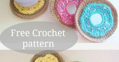 Crochet Doughnut Coasters and Holder Pattern, a must try Free Crochet Pattern. Visit my blog for your free copy. Crochet Food.